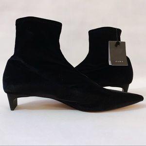Zara Plush Sock Boots w/Square Kitten Heels *BNWT*